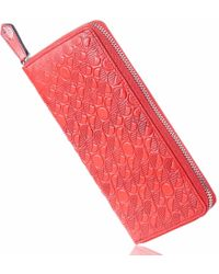 Drew Lennox - Luxury English Leather Ladies 12 Card Zip Around Purse & Wallet In Coral - Lyst