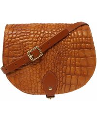 N'damus London - Alligator Print Leather Saddle Bag In Tan With Back Pocket - Lyst
