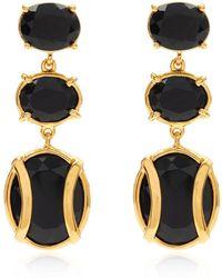 Alexandra Alberta - Yellow Gold Plated Lexington Earrings With Black Onyx - Lyst