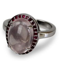 Bellus Domina - Rose Quartz & Ruby Oval Ring - Lyst