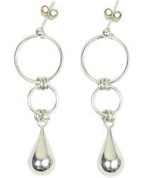 Alison Fern Jewellery - Maxime Silver Circle & Teardrop Earrings - Lyst