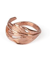 Chupi - I Can Fly Tiny Swan Feather Ring In Rose Gold - Lyst