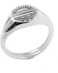 No 13 - Sun & Moon Signet Rings Silver - Lyst