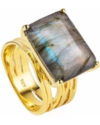Neola - Pietra Gold Cocktail Ring With Labradorite - Lyst