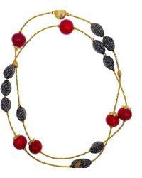 Farra - Red Bamboo Coral & Rhinestones Multi-way Necklace - Lyst