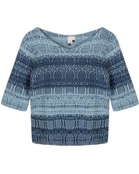 STUDIO MYR One-of-a-kind Three-quarter Sleeve Knitted Cotton Sweater Denim Wasted Blue