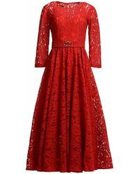 MATSOUR'I - Lace Dress Viktoria Red - Lyst
