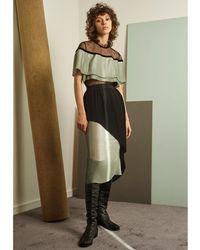Jelena Bin Drai - Ava Pleated Metallic Chiffon & Crepe Skirt - Lyst