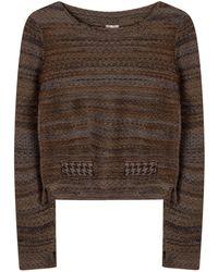 STUDIO MYR Boatneck Wool Sweater In Audrey Hepburn Style Tweed-raven - Gray
