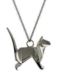 Origami Jewellery - Cat Necklace Gun Metal - Lyst