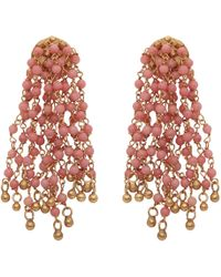Carousel Jewels - Coral Chalcedony Waterfall Earrings - Lyst
