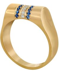 Edge Only - 14ct Gold Sapphire And Diamond High Top Ring - Lyst