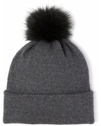 Alma Knitwear - Billy Merino Pom Hat Dark Grey - Lyst