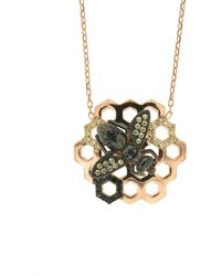 Cosanuova - Sterling Silver Honeycomb Bee Black Cz Necklace In Rose Gold - Lyst