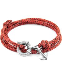 Anchor & Crew - Red Noir Clyde Anchor Silver & Rope Bracelet - Lyst