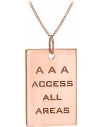 True Rocks - Access All Areas Pass Pendant In Rose Gold - Lyst