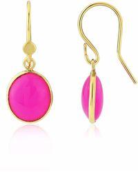 Auree - Pollara Gold Vermeil & Fuchsia Pink Chalcedony Drop Earrings - Lyst