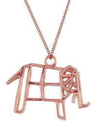 Origami Jewellery - Frame Elephant Necklace Rose Gold - Lyst