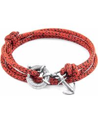 Anchor & Crew | Red Noir Clyde Silver & Rope Bracelet | Lyst