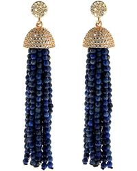Cosanuova - Sterling Silver Lapis Tassel Earrings In Rose - Lyst
