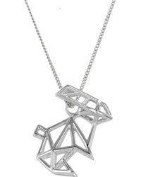 Origami Jewellery - Sterling Silver Frame Rabbit Origami Necklace - Lyst