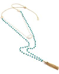 Azuni London - Evania Gemstone Chain With Turquoise & Moonstone - Lyst