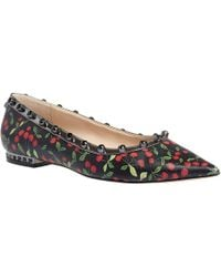 d4173f651 Miu Miu Cherry Flat Sandal - Black (39.5B 9.5B) in Green - Lyst