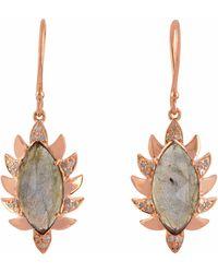 Meghna Jewels - Claw Single Drop Marquise Earring Ruby & Diamonds - Lyst