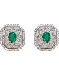 Ri Noor - Rock Crystal & Emerald Earrings - Lyst