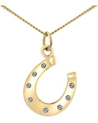 True Rocks - Large Two Tone Gold And Silver Horseshoe Pendant - Lyst