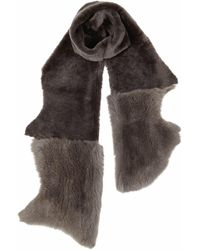 Gushlow and Cole - Moss Ash Mixed Shearling Scarf - Lyst