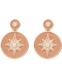 Latelita - Star Burst Brushed Metal Coin Drop Earring Rosegold - Lyst