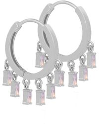 Astrid & Miyu - Mystic Opal Charm Hoops In Silver - Lyst
