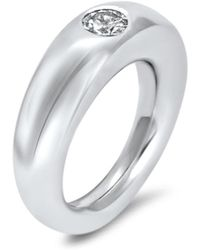 Hargreaves Stockholm - Commitment A White Gold & Diamond Flush Set Single Stone Ring - Lyst