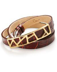 Ona Chan Jewelry - Leather Lattice Bracelet Small Burgundy - Lyst