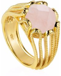 Neola - Alessia Gold Cocktail Ring With Rose Quartz - Lyst