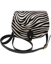 N'damus London - Zebra Print Full Grain Leather Saddle Bag In Black - Lyst