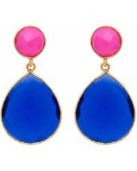 Carousel Jewels | Fuchsia Chalcedony & Dark Blue Quartz Double Drop Earrings | Lyst