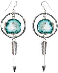 Tiana Jewel - Amira Hoop Arrow Druzy Earrings Sari Collection - Lyst