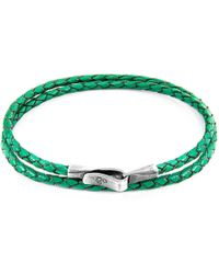 Anchor & Crew - Fern Green Liverpool Silver & Braided Leather Bracelet - Lyst