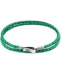 Anchor & Crew - Fern Green Liverpool Silver & Leather Bracelet - Lyst