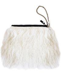 Florence Bridge - Fluffy Bianca Clutch Bag Cream - Lyst