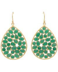 Carousel Jewels - Gold & Sliced Green Onyx Drop Earrings - Lyst
