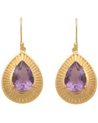 Carousel Jewels - Engraved Gold & Amethyst Teardrop Earrings - Lyst