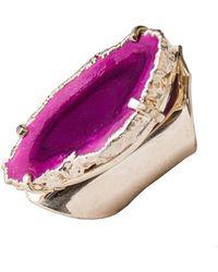 Tiana Jewel - Elyssia Pink Agate Cuff Ring - Lyst