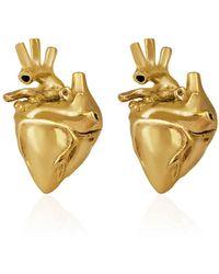 Strange Fruit - Heart Studs Gold - Lyst
