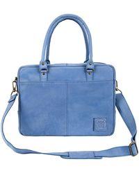 MAHI - Suede Leather Oxford Zip-up Satchel Briefcase Bag In Vintage Blue - Lyst