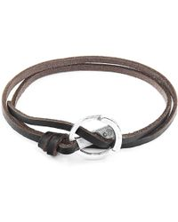 Anchor & Crew - Dark Brown Ketch Silver & Leather Bracelet - Lyst