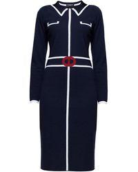 Rumour London - Claire Midnight Blue Jacquard Dress - Lyst