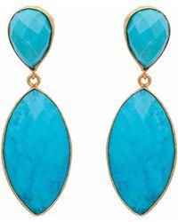 Carousel Jewels - Turquoise Double Drop Long Earrings - Lyst